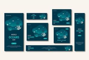 insieme di modelli di web e social media giornata mondiale degli oceani vettore