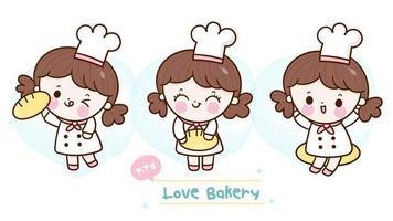 simpatica collezione di kawaii baker girl per caffetteria vettore
