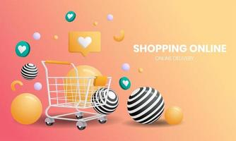 landing page dello shopping online con carrello e palline