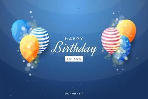buon compleanno design con palloncini colorati su blu vettore