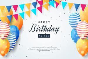 disegno di compleanno con palloncini colorati e bandiera ghirlanda vettore