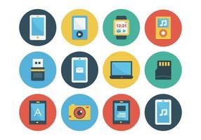 Set di icone piatte gadget vettore