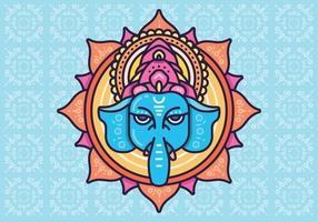 Testa di elefante indù Dio Signore Ganesh. Induismo. Felice Ganesh Chaturthi.