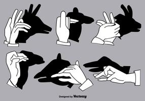 Set di ombre mano burattini - elementi vettoriali