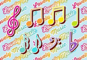 Set di note colorate di chiave e musica di violino