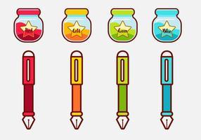 Set vettoriale di cute ink pot