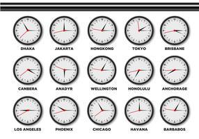 Orologio fuso orario vettore