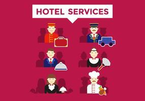 Vettore delle illustrazioni di servizi dell'hotel di portineria