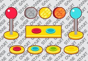 Insieme di elementi di vettore del pulsante Arcade A
