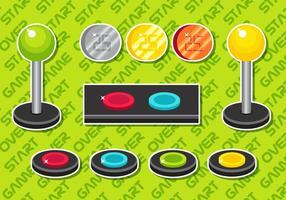 Insieme di elementi di vettore del pulsante Arcade B