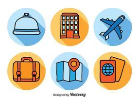 Set di icone di hotel e viaggi vettore