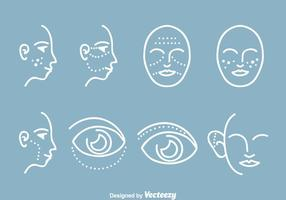Icone di chirurgia plastica cosmetica vettore