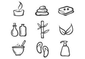 Vettori dell'icona della stazione termale disegnata inchiostro