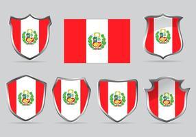 Insieme di vettore Scudo della bandiera Perù