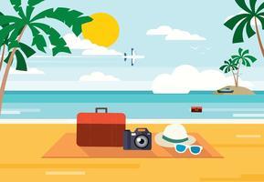 illustrazione vettoriale spiaggia estiva