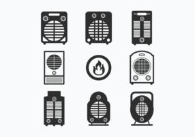 Imposta le icone del riscaldatore vettore