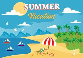 Illustrazione vettoriale di estate spiaggia libera