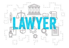 Insieme di vettore delle icone dell'avvocato