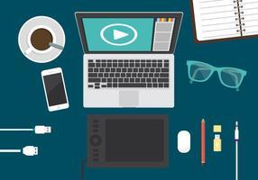 Ufficio di editing video vettore