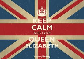 Vector Mantieni la calma e ama la regina Elisabetta