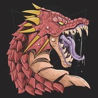 testa di drago arrabbiato design rosso vettore