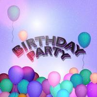 '' festa di compleanno '' con palloncini e coriandoli vettore