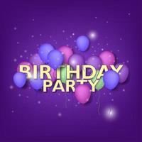 '' festa di compleanno '' con palloncini viola, blu vettore