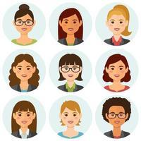 avatar di uomini d'affari femminili sorridenti