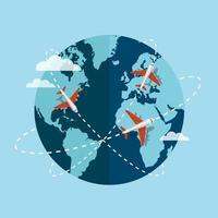 aerei che viaggiano intorno al globo vettore