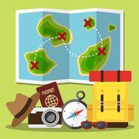 pianificazione della mappa di viaggio e degli articoli
