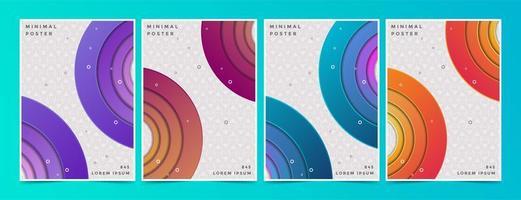 set di copertine con cerchi sfumati su motivo geometrico vettore