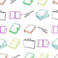 cartoleria contorno colorato e modello senza cuciture elemento ufficio vettore