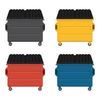 set di cassonetti colorati con coperchi neri