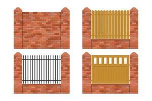 set di recinzione in mattoni vettore