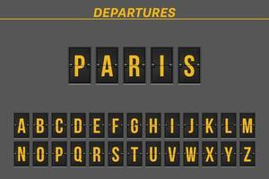 destinazione del volo sul tabellone segnapunti meccanico vettore