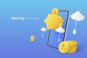 risparmio di denaro nel salvadanaio con lo smartphone vettore