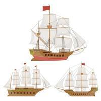 nave d'epoca in legno isolato su sfondo bianco vettore