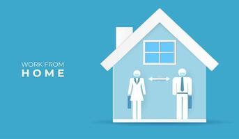 lavoro da casa con coppia maschio e femmina in casa vettore