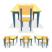 banco di scuola isolato su sfondo bianco