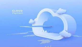 concetto di pagamento cloud computing vettore