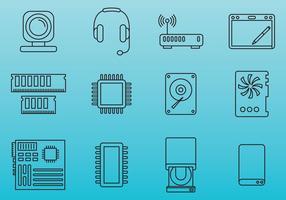 Icone delle parti del computer vettore