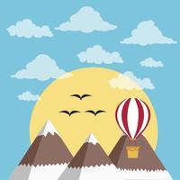 mongolfiere sopra le montagne ghiacciate vettore