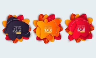 banner di vendita autunno con foglie e forme di forma liquida vettore