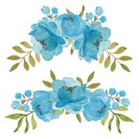collezione di composizioni floreali a tre fiori di peonia vettore