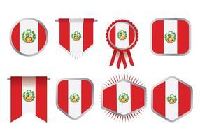 Vettore libero delle icone della bandiera del Perù