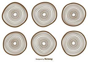 Raccolta delle icone degli anelli di albero di vettore