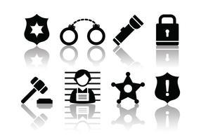 Icone della polizia e del crimine minimalista vettore