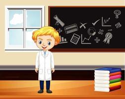 scena dell'aula con il ragazzo studente dalla lavagna vettore