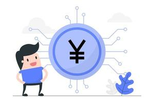 giovane con yuan digitale. vettore