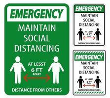 mantenere una distanza sociale di almeno 6 piedi vettore